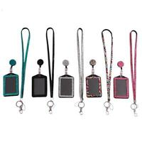 Bling Crystal Rhinestone Lanyard W/ Retractable Reel Vertical ID Badge Holder MA