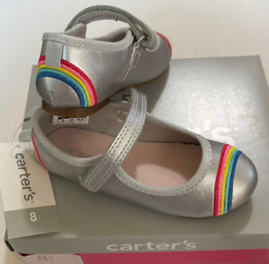 Carter's Toddler Girl Shoes Size 8 Silver Rainbow New With Tags And Box Alvina