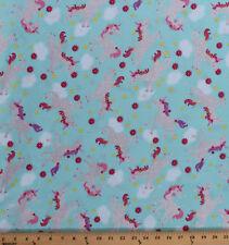 Unicorns Stars Horses Sparkle Glitter Kids Mint Cotton Fabric Print BTY D479.31