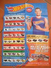 HOTWHEELS 2014 COLLECTOR POSTER AFL PLAYERS TOP 5 CARS   BRAND NEW