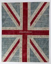 UNION JACK British Flag design PATCHWORK Rug, Overdyed Vintage Turkish Carpets