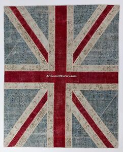 UNION JACK British Flag design PATCHWORK Rug, Overdyed Vintage Turkish Carpets