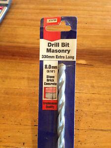 "Masonry Drill Bit 8.0 mm (5/16"") 330 mm Long Stone Brick Concrete Trade Quality"