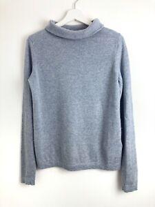 Hobbs Womens Light Blue Roll Neck Wool Cashmere Blend Long Sleeve Jumper Size M