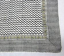 Grey Zig Zag Kantha Bedcover Bedspread Antique Vintage Gudri Ralli Blanket Throw