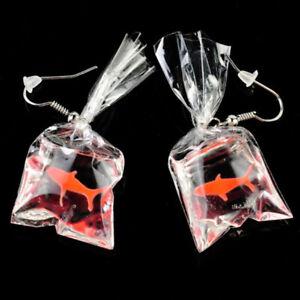 Fashion Red goldfish in plastic bag Ear Drop Earrings Tassel Lovely Jewelry Gift