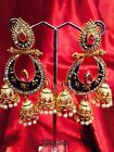 Bollywood Gimmiki Indian Designer Earrings Golden Pearls Pink Gold Jhumka F24