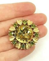 Vintage Flower Brooch Crystal Rhinestone Green Heart Valentine Floral Love Pin