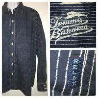 Tommy Bahama Cotton Shirt Navy Blue White Pinstripes Size XL EUC
