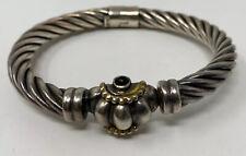 Vintage Signed? Sterling Silver 925 Gold, Black Onyx Hinged  Bangle Bracelet