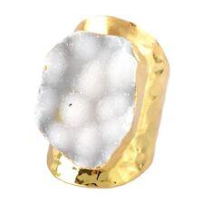 Chunky White Druzy Ring Large Statement Natural Stone Agate Geode Boho Bohemian