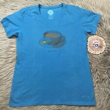 LIFE IS GOOD  T-Shirt Women's Cotton Sz M Short Sleeve Teal Half Full Tea Cup