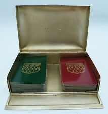 More details for edwardian solid silver double bridge box - antique playing card game rules
