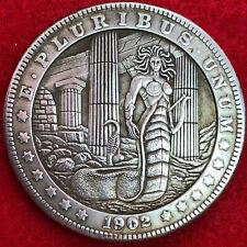 Very Large serpent woman warrior Tibetan Silver Morgan Dollar