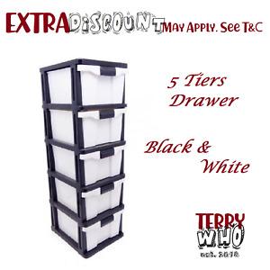 5 Drawer Black & White Storage Organiser Plastic level Office Box