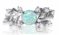 White Gold Round Cut Nature Leaf Petal Turquoise Fire Opal Sterling Silver Ring