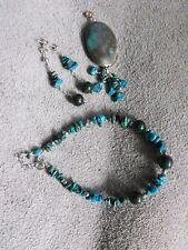 OOAK BLOODSTONE & TURQUOISE pendant bracelet earrings gemstone sterling silver