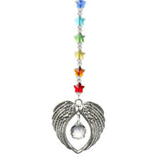 Crystal Angel Wing Pendant with Crystal Ball Hanging Suncatcher For Window Decor