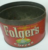 Vintage 1959 Folgers COFFEE GRAPHIC NO LID COFFEE TIN 1 POUND Kansas City