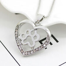 Women Heart Dog Paw Necklace Lover Pendant Necklace Jewelry Chain Gifts