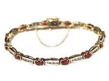 "14k white yellow gold .72ct  diamond ruby tennis bracelet 11.3g safety chain 7"""