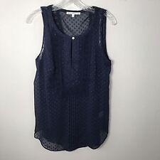 Anthropologie DANIEL RAINN Swiss Dot Sleeveless Embroidered Blouse Top Blue Size