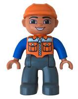 Lego Duplo Figur Mann Bauarbeiter Arbeiter Straßenarbeiter oranger Helm Neu