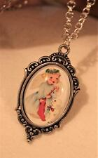Delightful Heart Rim Christmas Angel Stocking & Lamb Silvertone Pendant Necklace