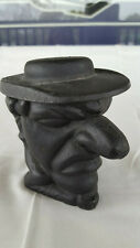 Rare Vtg Iron Art LB65 Cast Iron Man Head Large Nose With Hat Lidded Container