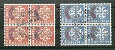 Francobollo USATO SVIZZERA 1959  2 VALORI SOPR. POSTALI EUROPEE  FDC in QUARTINA