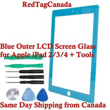 Blue Outer LCD Screen Glass Lens Replacement for Apple iPad 2/3/4 + Tools CANADA