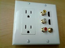 2x 110v HUBBELL POWER OUTLET + 3x RCA A/V + 2x HDMI + 1x COAX TWO GANG WALLPLATE