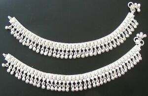 HANDMADE PURE SILVER BABY ANKLET PAIR INDIAN PAYAL 45.5 GRAM SIZE 6.5.''  SPA 16
