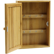 8 Key Hooks Bamboo Wooden Box Cabinet Storage Locking Security Safety Cupboard
