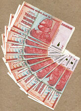 Zimbabwe 20 Trillion Dollars x 10 pcs AA 2008 P89 VF currency bills