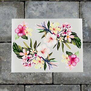 2 x Tropical Exotic Flower Stickers - Wall MacBook Laptop iPad - SKU7217