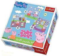 Trefl 3 IN 1 Peppa Pig Puzzle Juego Tres en Un Puzles Rompecabezas Juego