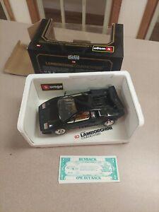 Burago 1/18 Black Lamborghini Countach Rare 1988 black diecast car 3037