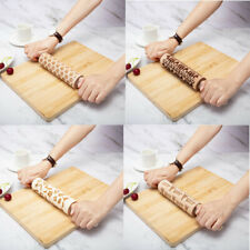 Wooden Engraved Embossing Rolling Pins Pizza Dough Pastry Kitchen Rollers Baking