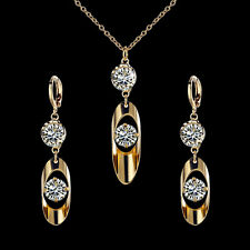 18k Gold Plated Crystal Drop Earrings+Necklace Woman Luxury Jewellery Set Gift