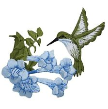 "Hummingbird Applique Patch - Blue Flowers, Bird Badge 3.5"" (Iron on)"
