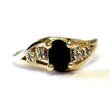 14k yellow gold .02ct diamond SI2 G childs pinky sapphire gemstone ring 1.9g