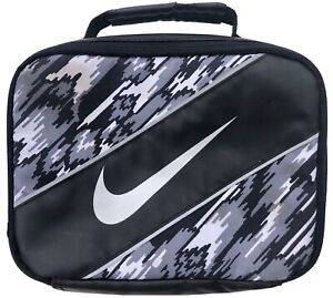 Nike Swoosh Black Lunch Box Bag Insulated Soft Sided Zip Up