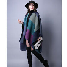 Women's Winter Cape Coats Scarf Blanket Cloak Cashmere Plaid Patchwork Poncho