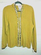Quacker factory large hoodie gold sequin trim