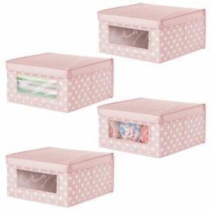 mDesign Kids Stackable Fabric Closet Storage Box, Medium, 4 Pack - Pink/White