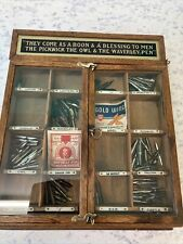 More details for macniven & cameron, shop counter oak display case for pen nibs