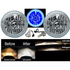 "7"" COB LED Blue Halo Angel Eye Headlights 6K 6000K LED Light Bulbs Headlamp Pair"