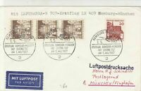 Germany 1967 Lufthansa LH 409 Hamburg-Munich Slogan Cancel Stamps Cover Rf 28700