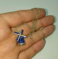 VINTAGE SILVER ENAMEL WINDMILL MOVING  CHARM PENDANT ON SILVER CHAIN